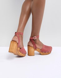 Asos Design Tinker Leather Clogs Red Leather