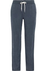 Monrow Washed Twill Track Pants Navy