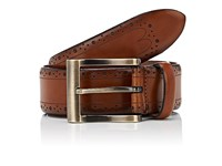 Barneys New York Men's Dot Perforated Leather Belt Brown