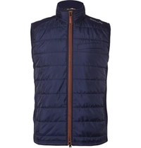 Rlx Ralph Lauren Quilted Shell And Stretch Wool Golf Gilet Navy