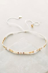 Anthropologie Luciana Beaded Choker Necklace White