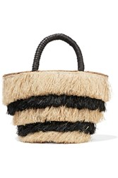 Kayu Pinata Mini Leather Trimmed Fringed Straw Tote Black