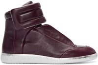 Maison Martin Margiela Burgundy And Silver Future High Top Sneakers