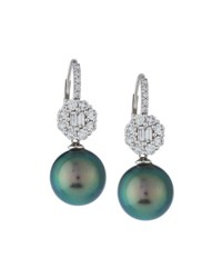 Belpearl 18K Floral Diamond And Tahitian Pearl Drop Earrings