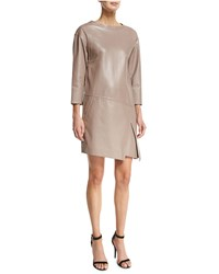 J. Mendel 3 4 Sleeve Leather Sheath Dress Smoky Quartz