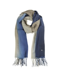 Mila Schon Gradient Blue Brown Wool And Cashmere Stole