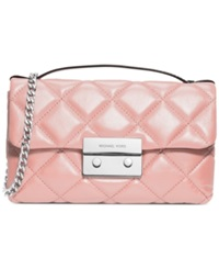 Michael Michael Kors Sloan Small Quilted Messenger Bag Blossom Silver