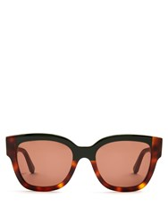 Marni Rectangle Frame Acetate Sunglasses Green Multi