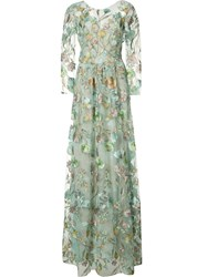 Marchesa Notte Floral Embroidery Sheer Gown Blue