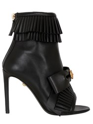 Fausto Puglisi 100Mm Ruffled Leather Open Toe Boots
