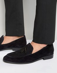 Dune Tassle Loafers In Black Suede Black