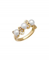 Nina Ricci Estate 18K Yellow Gold Diamond And Pearl Ring Size 6.25