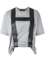 Comme Des Garcons Junya Watanabe Contrast T Shirt Women Cotton Nappa Leather S Grey
