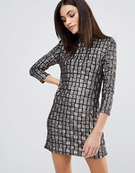 Goldie Alexa Sequin Shift Dress Grey