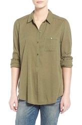 Junior Women's Sun And Shadow Gathered Back Blouse Olive Burnt