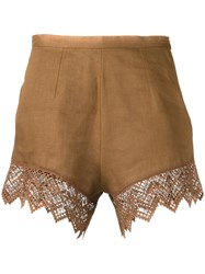 Ermanno Scervino Lace Trim Shorts Women Linen Flax Polyester 42 Brown