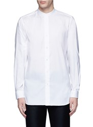 Ports 1961 Banded Collar Cotton Poplin Shirt White