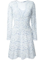 Blumarine Overlay Lace Dress Blue