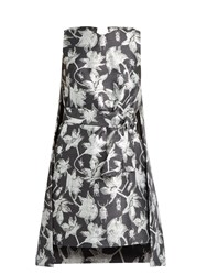 Osman Michelle Floral And Bug Brocade Cape Dress Grey Multi