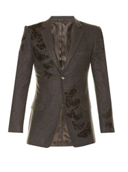 Alexander Mcqueen Butterfly Embroidered Wool Blazer Grey