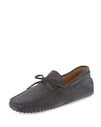 Tod's Gommini Suede Tie Driver Gray Grey