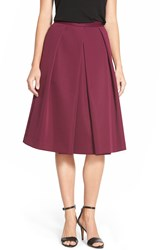 Vince Camuto Pleat Front A Line Midi Skirt Regular And Petite Perfect Plum