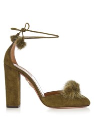 Aquazzura Wild Russian Fur And Suede Pumps Khaki