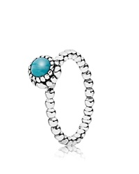 Pandora Design Pandora Ring Sterling Silver And Turquoise Birthday Blooms December