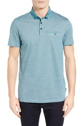 Ted Baker Men's London Cocoa Contrast Collar Stripe Polo Teal