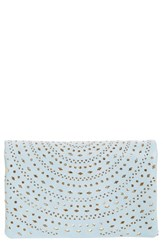 Street Level Perforated Faux Leather Crossbody Bag Blue