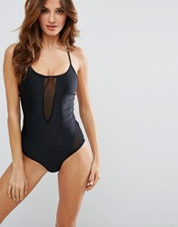 Y.A.S Mace Sheer Panel Swimsuit Black