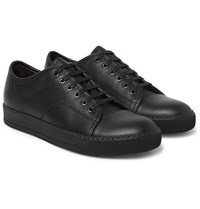Lanvin Cap Toe Full Grain Leather Sneakers Black