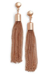 Karine Sultan Women's Tassel Drop Earrings Rose Gold