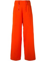 Ports 1961 Palazzo Pants Women Silk Wool 44 Red