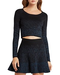 Bcbgeneration Cropped Sprinkle Sweater Black Teal Combo