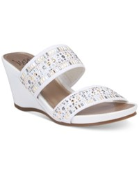Impo Verill Embellished Wedge Sandals Women's Shoes White
