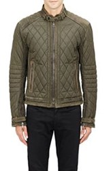 Ralph Lauren Black Label Suede Trimmed Quilted Tech Jacket Green Size