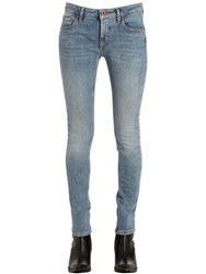 Off White Skinny Roses Embroidered Denim Jeans