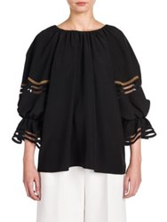 Fendi Ruffle Detail Silk Crepe De Chine Blouse Black