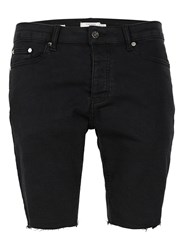Topman Washed Black Raw Edge Stretch Skinny Denim Shorts