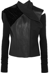 Rick Owens Sphinx Leather Velvet And Wool Biker Jacket Black