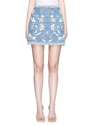 Alice Olivia 'Riley' Floral Embroidered Chambray A Line Skirt Blue
