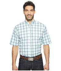 Stetson 0822 Windowpane Satin Check Short Sleeve Button Blue Men's Clothing