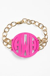 Women's Moon And Lola 'Annabel' Large Personalized Monogram Bracelet Hot Pink Gold