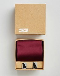 Asos Wedding Tie In Burgundy And Cufflink Pack Oxblood Red