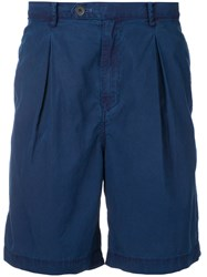 Factotum Pleated Shorts Men Cotton Lyocell 46 Blue