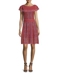 M Missoni Cap Sleeve Scallop Striped Dress Red Size 36 0