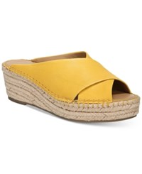 Franco Sarto Polina Espadrille Platform Wedge Sandals Created For Macy's Women's Shoes Yellow Leather