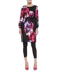 Melissa Masse Floral Print Charmeuse Tunic Dress Women's