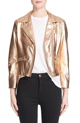Veda Women's Splash Metallic Leather Moto Jacket